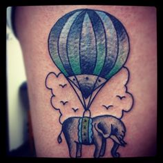 Elephant and Hot Air Balloon tattoo
