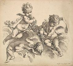 Three Children with a Fruit Plate Gabriel Huquier (French, Orléans 1695–1772 Paris)  Artist:     After François Boucher (French, Paris 1...