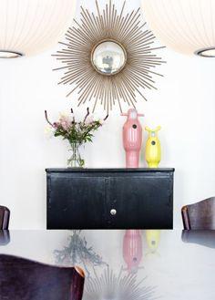 love this sunburst convex mirror! Sun Mirror, Convex Mirror, Mirrors, Gold Starburst Mirror, Space Architecture, Interior Stylist, Scandinavian Style, French Antiques, Interior And Exterior
