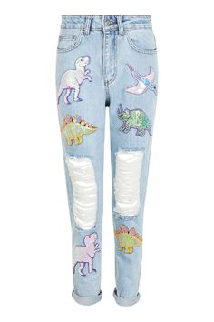 **Sequin Dinosaur Mom Jeans by Kuccia - Brands- Topshop