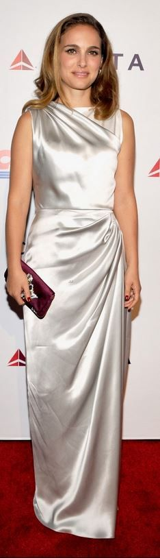 Who made  Natalie Portman's silver gown and clutch handbag that she wore in Los Angeles on October 11, 2014?