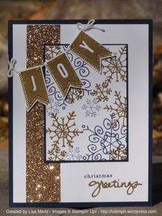 Endless Wishes & A Banner Christmas w/ night of navy, champagne glimmer paper & gold glitter.