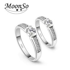 Good price Moonso 925 Sterling Silver  Ring Engagement  Zircon anel for Women Wedding  round  elegant and graceful   Couple Rings  LR219 just only $5.92 with free shipping worldwide  #weddingengagementjewelry Plese click on picture to see our special price for you