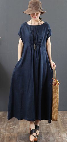 French navy linen clothes Omychic Work o neck pockets A Line Summer Dress French Navy Leinen Kleidung Omychic Work o Nackentaschen A Line Summer Dress # Oneckdress # Linendress # Navydress Sewing Dresses For Women, Dress Sewing, Short Beach Dresses, Loose Summer Dresses, Summer Dress Outfits, Dress Summer, Frack, Bohemian Mode, Linen Dresses