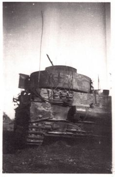 Charred remains of a Panzer IV in France, near the Maginot Line.