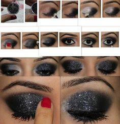 13 Glamorous Smoky Eye Makeup Tutorials for Stunning Party & Night-out Look step-by-step dramatic smokey black eye… w/ glitter - Das schönste Make-up All Things Beauty, Beauty Make Up, Hair Beauty, Love Makeup, Makeup Looks, Black Makeup, Makeup Art, Makeup Style, Silver Makeup