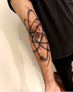 Atom Tattoo on Arm is part of Science Art Atom - Atom Tattoo on Arm by Marcella Alves Cool Tattoos For Guys, Unique Tattoos, All Tattoos, Body Art Tattoos, Sleeve Tattoos, Tatoos, Atom Tattoo, Text Tattoo, Tattoo On
