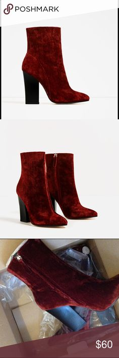 Zara Velvet Ankle Boots NWT. Comes with original box. Heel height about 4.5 inches Zara Shoes Heeled Boots