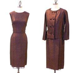 Vintage 1960s Silk Dress 60s Bronze Cocktail by daisyandstella, $125.00