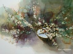 <Listen to the voices of fields, trees, flowers and birds.> A watercolor painting / Yuko Nagayama Watercolor Fruit, Watercolor Art Paintings, Fruit Painting, Watercolor Artists, Watercolor And Ink, Watercolor Flowers, Art Textile, Graphic 45, Botanical Art