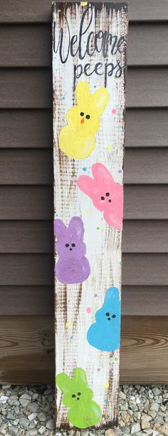 Easter peeps wooden welcome crafts diy crafts crafts for teens to make crafts for kids spring crafts crafts for adults crafts to sell easy crafts dollar store crafts easy crafts crafts for adults Easter Peeps, Hoppy Easter, Easter Bunny, Spring Crafts, Holiday Crafts, Diy Osterschmuck, Easter Crafts For Toddlers, Diy Easter Decorations, Diy Ostern