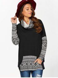 Cowl Neck Kangaroo Pocket Design Pullover in White And Black | Sammydress.com Mobile