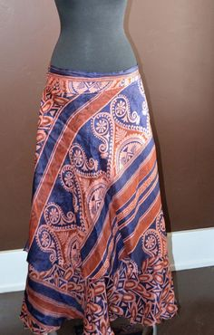 Vintage Sari Multi Wear Wrap Boho Skirt Copper and Blue Miss 0-14 SILK