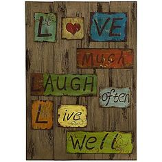 Life Laugh Love Tin & Wood Wall Art - jcpenney