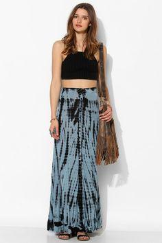 Ecote Knit Button-Front Maxi Skirt