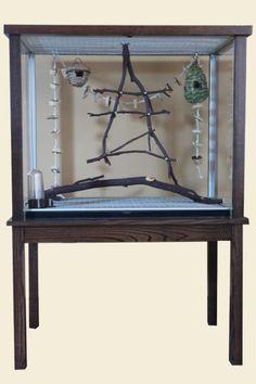 Plexiglass birdcage = genius! No more birdseed all over the floor :)