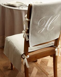 Shop Chair Pad with Monogrammed Slipcover from French Laundry Home at Horchow, where you'll find new lower shipping on hundreds of home furnishings and gifts. Chair Back Covers, Chair Backs, Kitchen Chair Covers, Dining Chair Slipcovers, Dining Room Chairs, Slipcover Chair, Chair Cushions, Desk Chairs, Lounge Chairs