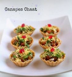 canapes chaat recipe - Indian canape recipe of healthy sprouts topped on canapes. canape chaat recipe with step by step pictures. canapes recipes…More Canapes Recipes, Veg Recipes, Indian Food Recipes, Appetizer Recipes, Cooking Recipes, Snacks Recipes, Party Food Ideas Indian, Canapes Ideas, Indian Wedding Food