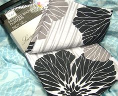 CHD LIVING STYLE Fabric Shower CURTAIN Bold BLACK GRAY IVORY 72 X 72 | eBay