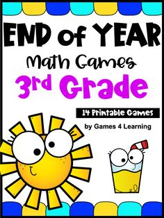 End of the Year Activities: Math Games for Third Grade: Summer Packet Math Skills, Math Lessons, Fun Math, Math Activities, Third Grade Math Games, Fraction Games, Math About Me, Math Concepts, End Of Year