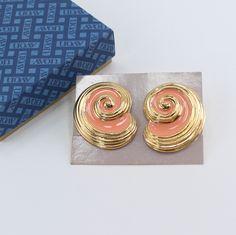 Vintage 1990 Signed Avon Island Conch Shell Gold Tone Orange Coral Peach Enamel Swirl Curled Spiral Pierced Earrings in Original Box NIB by ThePaisleyUnicorn on Etsy