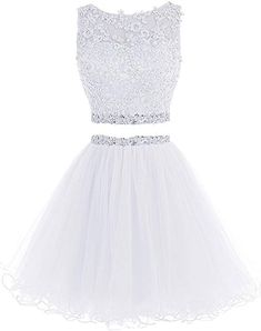 Lilibridal Two Pieces Short Beaded Prom Dress Tulle Applique Homecoming Dress - Fashion Ideas - Luxury Style Backless Homecoming Dresses, Two Piece Homecoming Dress, Prom Dresses 2016, Cute Prom Dresses, Dresses Short, Beaded Prom Dress, Pretty Dresses, Formal Dresses, Quinceanera Dresses