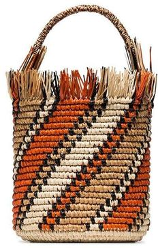 Sensi Studio Orange Striped Bucket Bag - Most Beautiful Bag Models 2019 Bag Patterns To Sew, Knitting Patterns, Sewing Patterns, Bucket Bag, Orange Bag, Knitted Bags, Large Bags, Knitting Projects, Fashion Bags