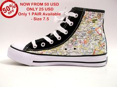 """Custom Sneakers """"Germany Map"""" A great pair of Germany Map Sneakers handcrafted. The Sneakers are totally handcrafted and sealed with a protective spray coat at finish. For orders please contact us Canvas Sneakers, Uk 5, Custom Sneakers, Converse Chuck Taylor, 50th, High Top Sneakers, Germany, Buy And Sell, Pairs"""