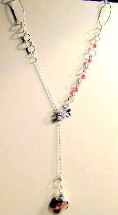 Orchid and Wrapped Briolette Silver Lariat