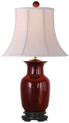 Oxblood Red Porcelain Tall Vase Table Lamp -
