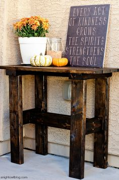 Spruce up your entryway for the holidays with this DIY Porch Table from @anightowlblog