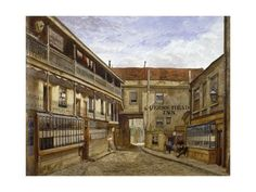 size: Giclee Print: The Queen's Head Inn, Borough High Street, Southwark, London, 1880 by John Crowther : Old London, Find Art, Framed Artwork, Giclee Print, Yard, Street, Painting, Queens, Google Search