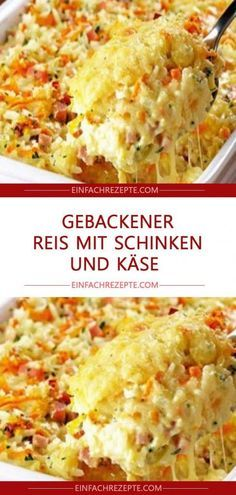 Gebackener Reis mit Schinken und Käse – Page 2 Baked rice with ham and cheese & Page 2 The post Baked rice with ham and cheese & Page 2 appeared first on Pink Unicorn. Ham Recipes, Easy Healthy Recipes, Casserole Recipes, Crockpot Recipes, Healthy Snacks, Vegetarian Recipes, Dinner Recipes, Easy Meals, Potato Casserole