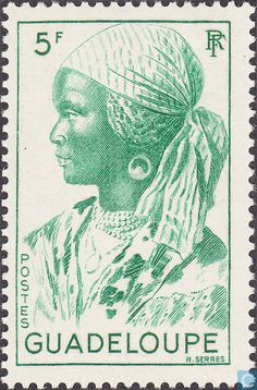 Postage Stamps - Guadeloupe - Woman from Guadeloupe Old Stamps, Vintage Stamps, Native American Tribes, Fauna, Mail Art, Stamp Collecting, Magazine Art, France, Black History