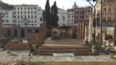 Pompey's Theater -SITE OF ASSASSINATION OF JULIUS CAESAR in the Largo di Torre Argentina in Rome.  Julius Caesar was killed in the Curia of the Theatre of Pompey, and the spot he was believed to be assassinated is in the square