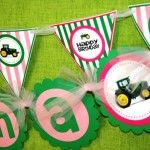 John Deere Tractor Pink Birthday Party Name Banner