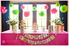 incorporate Lime Green & Hot Pink into Summer Happy Hour Diy Party Decorations, Birthday Decorations, Baby Shower Decorations, Garden Birthday, 1st Birthday Parties, Pink Birthday, Birthday Ideas, 16th Birthday, Zebra Print Party