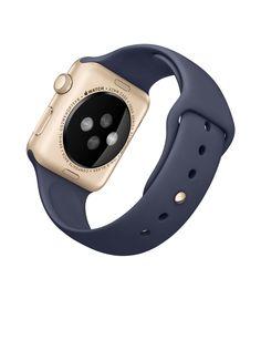 Apple Watch Sport – Caixa de 42 mm dourada de alumínio com pulseira desportiva azul meia-noite