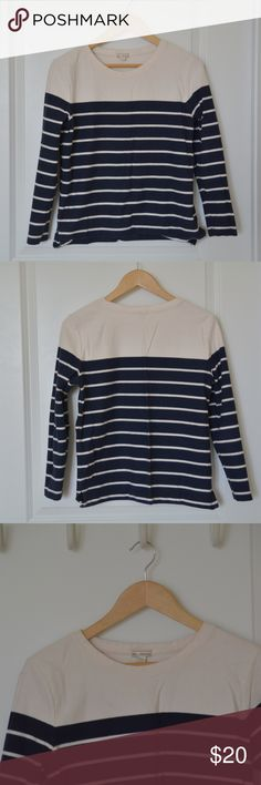 GAP Long Sleeve Striped Shirt Gap long sleeve navy & cream striped shirt. Material is thicker than a normal long sleeve, also a more boxy fit. Worn a few times, in great condition. GAP Tops Tees - Long Sleeve