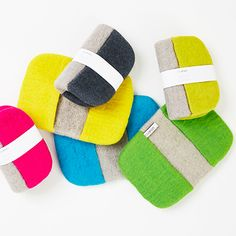 Wool Potholder - Colorful potholders in 100% wool for all hot things. Easy to use, just bend it and you have two small pockets for your hand. Made in Sweden.  http://www.scandinavianshoppe.com/store/Search.aspx?SearchTerms=aveva