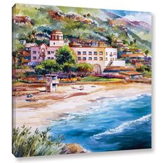 Bill Drysdale Laguna Main Beach, Gallery-Wrapped Canvas is a beautiful giclee repoduction depicting the beautiful Laguna Beach of California in a pristine watercolor style. A perfect way to relax at h