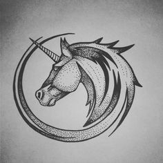 Dotwork Unicorn tattoo. Marie Caldwell
