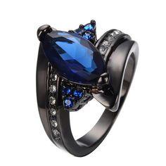 Horse Eye Black Gold Ring