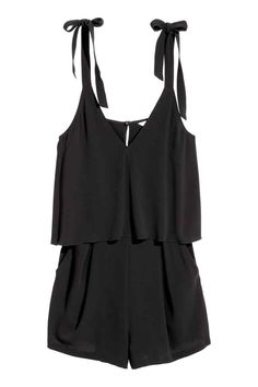 Short jumpsuit in creped, woven fabric. Double layer at top, ties at shoulders, V-neck, and opening at back with button and concealed zip. Short Playsuit, Black Playsuit, Short Jumpsuit, Jumpsuit Dress, Black Jumpsuit, Overall Shorts, Cute Summer Outfits, Cute Outfits, Beach Outfits