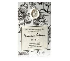 Devoir Collection / Letterpress Rehearsal Dinner Invite / Floral Print, Wax Seal, Black Thread, French Inspired