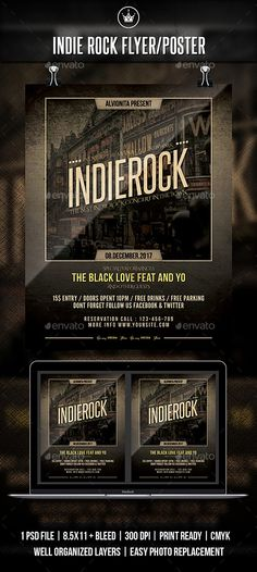 Buy Indie Rock Flyer / Poster by on GraphicRiver. Indie Rock flyer templates or poster template designed to promote any kind of music event, concert, festival, party o. Music Flyer, Concert Flyer, Music Music, Live Music, Rock Music, Indie, Halloween Flyer, Flyer Layout, Festival Party