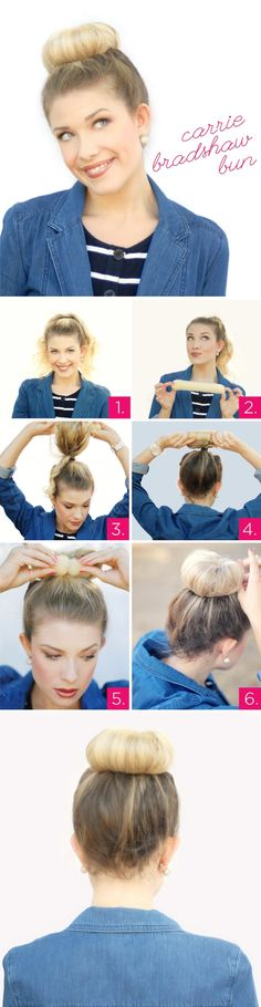 How To: Carrie Bradshaw Bun. I'm so picking up this rat hair tool to do this, this weekend =)