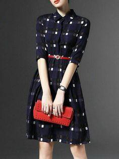 Purplish Blue Belts V neck Long sleeve A-line Buttoned Plaid Midi Dress with Belt Fashion Mode, Modest Fashion, Fashion Dresses, Womens Fashion, V Neck Midi Dress, Dress Skirt, Plaid Dress, Shirt Dress, Navy Dress