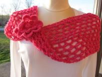 Sparkly Pink Crochet Eternity Scarf with Flower Pin