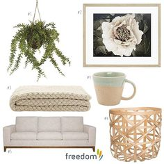 Our new #theconservatory collection is built on elegant muted tones blooms and botanicals #1 Foliage Baker Fern in Potted Green $59.95 #2 Golden Era I Print 84x63cm $199 #3 Spector Throw 130x150cm in Cloud $99 #4 Equator Mug in Celadon $9.95 #5 Zahra 3 Seat Sofa in Alpha Natural $1999 #6 Ando Basket in Natural $19.95  have a look on our blog #stylebyfreedom today for more of our new #freedomnzaw16 season.